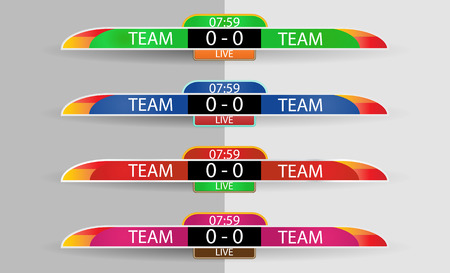 Live scoreboard Digital Screen Graphic Template for Broadcasting of soccer, football or futsal, illustration vector design template for soccer league match. Shirt or Clothes color team on both sides.