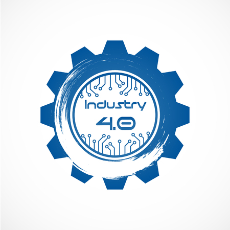 Industry 4.0 in Involute gear with Dot line system. Business and Automation production concept. Cyber Physical and Feedback control. Futuristic of world intelligence network theme. Internet of things.
