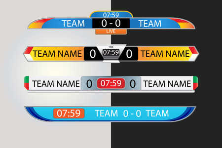 Live scoreboard Digital Screen Graphic Template for Broadcasting of soccer, football or futsal, illustration vector design template for soccer league match.