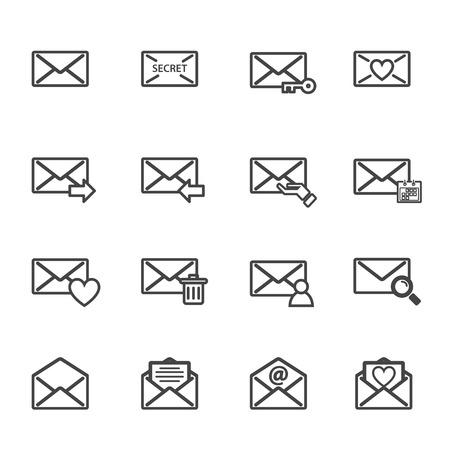 lettre de l & # 39 ; enveloppe et e-mail vecteur icône de l & # 39 ; électronique . jeu d & # 39 ; électronique et de l & # 39 ;