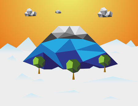 Mountain in winter Low poly background. Mountain and cloud and trees in component. Nature and Landscape concept. Abstract and Background concept. Environment and tropical climate theme. Fujisan Japan
