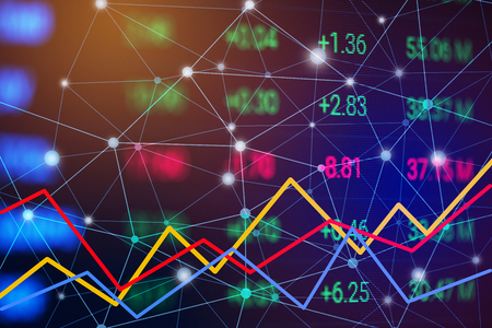 Stock market chart with line graph. Trend chart of bullish and bearish. Financial and Business Investment trading concept. Money currency and cryptocurrency theme. Business stock screen. Blue tone