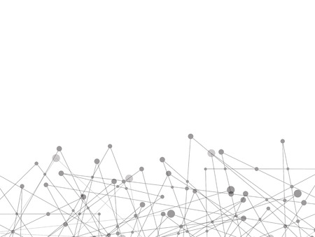 White technology and Science abstract background with grey line dot. Business and Connection concept. Futuristic and Industry concept. Internet cyber data link and network theme. Illustration