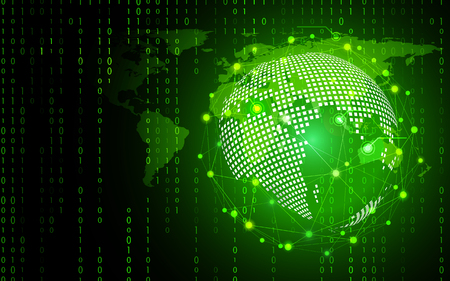 Green technology circle and computer science abstract background with binary code matrix. Business and Connection. Futuristic and Industry 4.0 concept. Internet cyber and network theme.