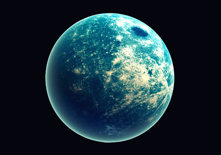 Blue earth in space and galaxy. Globe with outer glow ozone and white cloud. Space planet and Atmosphere concept. Alien and Living nature theme. Foto de archivo