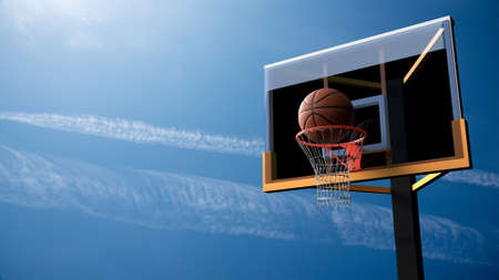 Basketball going into hoop on beautiful blue sky background. Sport and Competitive game concept. 3D illustration.