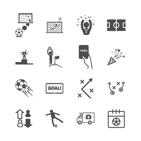 Voetbal en voetbal pictogrammen. Sportspel en activiteitsconcept. Glyph en contouren lijnpictogrammen thema. Vector illustratie grafisch ontwerp collectie set