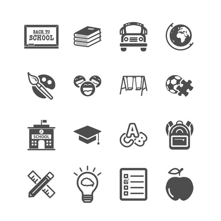 Education icons. Back to school and learning of kids concept. Glyph and outlines stroke icons theme. Sign and Symbol theme. Vector illustration graphic design collection set.