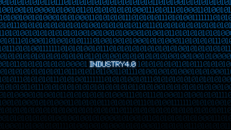 Industrial 4.0 Blue digital matrix bacgkground. Abstract background and Technology concept. Smart network connection and Internet of thing theme. Gear and World map background.