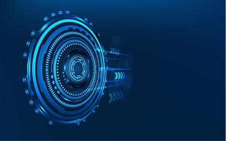 青とバイナリのコード行列を持つ青の技術サークルとコンピュータの抽象的な背景。ビジネスと接続。未来的でインダストリー4.0のコンセプト。インターネットサイバーとネットワークのテーマ。HUDインターフェイス