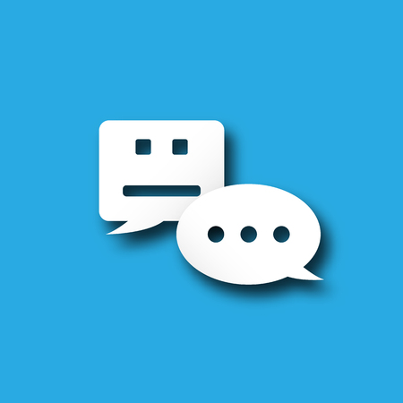 Chatbot notification bubble alert messenger icon with personal user communication technology. Push notification digital transformation system concept. Blue white flat design symbol graphic vector