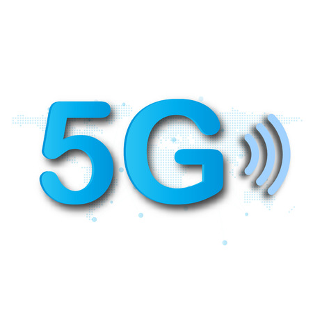 5G cellular mobile communication blue  background with global network line link transmission. Digital transformation and technology concept. Massive future device connection high speed internet