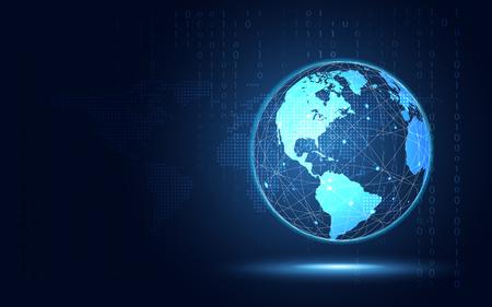 Futuristischer abstrakter Technologiehintergrund der blauen Erde. Digitale Transformation der künstlichen Intelligenz und Big-Data-Konzept. Computersicherheits- und Investitionskonzept für Geschäftswachstum. Vektor-Illustration Vektorgrafik