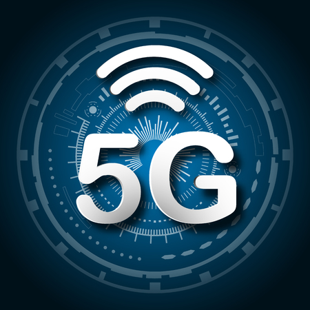 5G cellular mobile communication blue logo background with global network line link transmission. Digital transformation and technology concept. Massive future device connection high speed internet  イラスト・ベクター素材