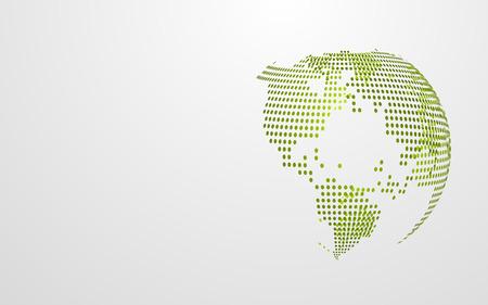 Mappa globale astratta del punto della terra di Eco verde su fondo grigio bianco. Modello di presentazione della carta da parati dal design moderno. Grafico dell'illustrazione di vettore. Concetto di giornata della terra. Astratto di tecnologia futuristica