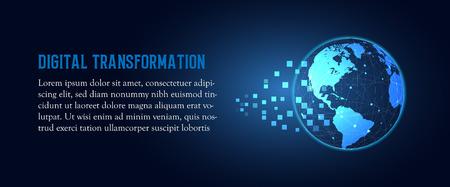 Futuristische Veränderung des abstrakten Technologiehintergrundes der digitalen Transformation der blauen Erde. Künstliche Intelligenz und Big Data. Geschäftswachstumscomputer und Investitionsindustrie 4.0 Vektorillustration Vektorgrafik