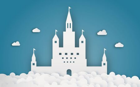 Sky castle on cloud papercraft. Abstract and fantasy theme background. Digital craft and origami concept. Ilustração