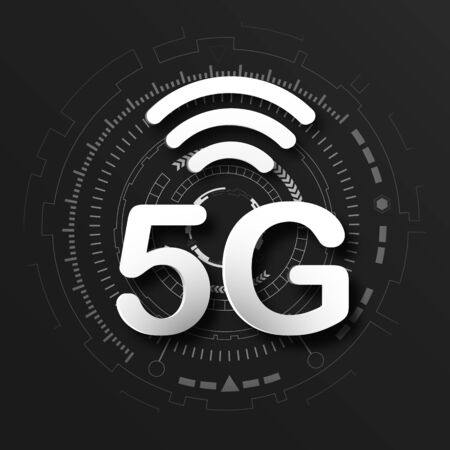 5G cellular mobile communication black  background with global network line link transmission. Digital transformation and technology concept. Massive future device connection high speed internet Imagens - 127775407