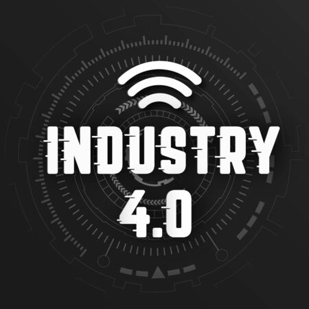 Industry 4.0 with wifi   on black background with global wireless network line link transmission. Digital transformation and technology concept. Massive future device connection high speed internet