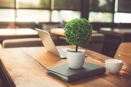 Small decorate tree, laptop, notebook and coffee cup in on wooden table in coffee shop. Relaxation and Business Co-working space concept Imagens