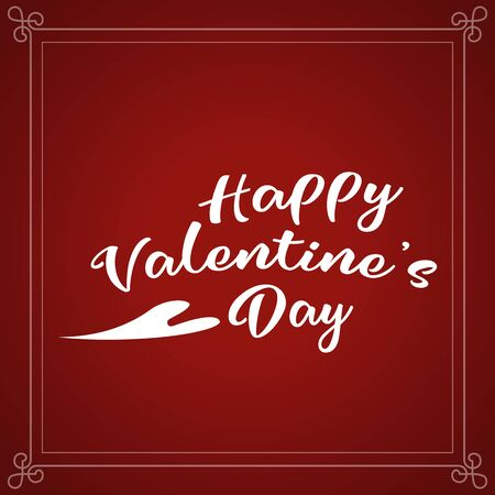 Happy Valentines Day holiday lettering design. White Valentines text with heart script calligraphy font on red background. Illustration vector.