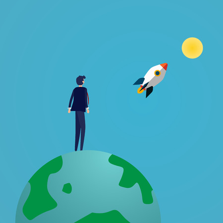 Businessman looking rocket launching to the moon on top of the eco earth. Business success and Vision concept. Good attitude and achievement concept. Vector illustration