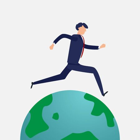 Businessman running around the world.  Flat design and Character design concept. Business and people theme.
