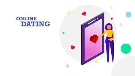 Happy Valentine's day flat design background. Woman sending heart emotion icon by touching screen on mobile phone to her boyfriend. Graphic design concept. Vector illustration Banco de Imagens - 127775545