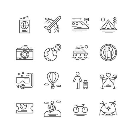 Travel and Activities icon. Leisure and Sport concept. Trip and journey concept. Thin line and Outline icon set. Vector illustration. Sign and symbol collection set. Ilustração