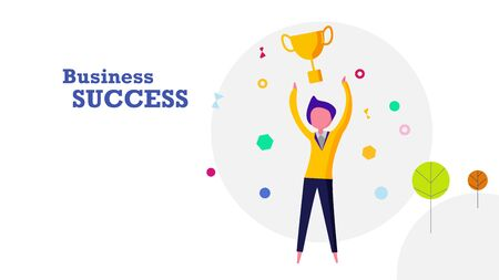 Business success flat design background. Happy human throwing golden winner award trophy into the air. Business and achievement concept.