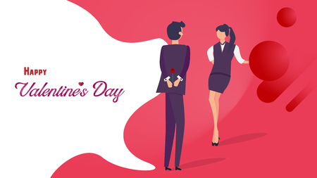 Happy Valentine's day flat design. Man giving rose to his girlfriend for romantic flirting. Graphic design concept. Vector illustration Imagens - 126099270