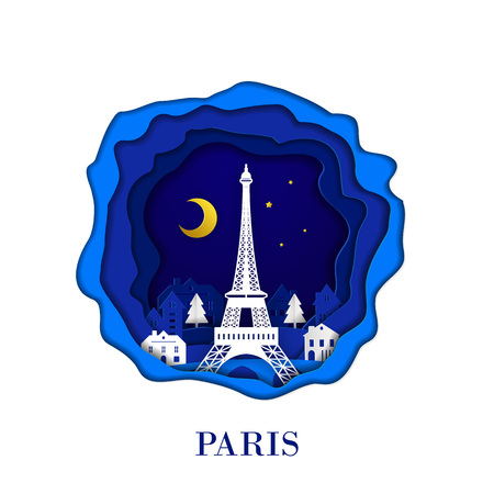 PARIS city of France in digital craft paper art. Night scene. Travel and destination landmark concept. Papercraft style Imagens - 126099271