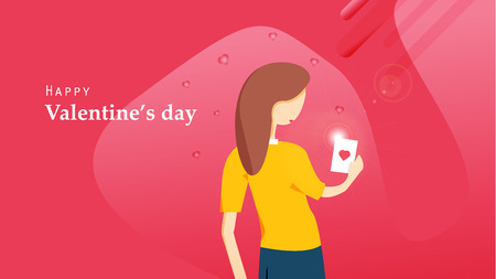 Happy Valentines day flat design. Woman looking at heart postcard from her boyfriend. Graphic design concept. Vector illustration