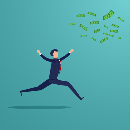 Businessman running to catch money banknote that blow away. Business and Financial concept. Loss profit investment people theme. Character graphic design. Vector illustration for presentation template Imagens - 126099274