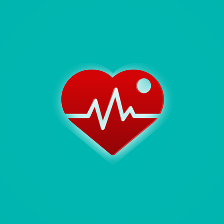 Red heart with pulse wave. Medical and symbol concept. Abstract icon theme. Imagens - 126099276