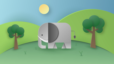 Paper art of wild elephant in the forest. Digital craft and papercraft concept. Wallpaper and background theme. Imagens - 126099278