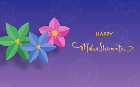 Happy Maha Shivaratri or Night of Shiva festival holiday with flower. Traditional event theme. Imagens - 127775550