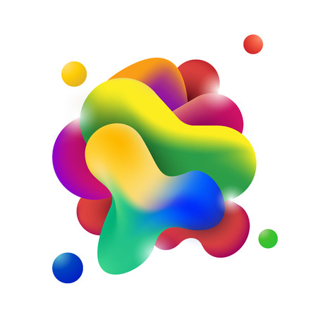 Abstract modern flowing fluid shape graphic elements. Gradient dynamic color form. Vector illustration