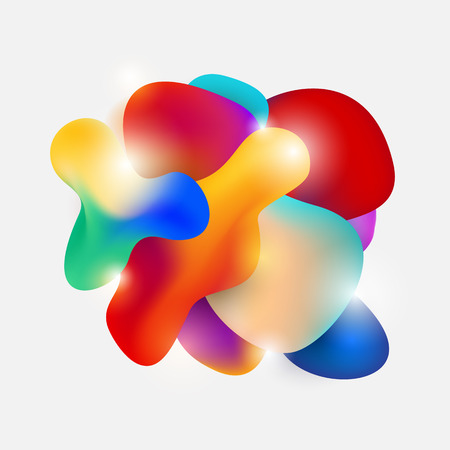 Abstract modern flowing fluid shape graphic elements. Gradient dynamic color form. Vector illustration Imagens - 125643137