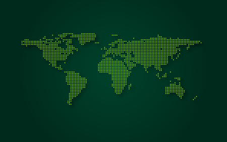 Futuristic green world map abstract technology background. Digital transformation and big data concept. Business quantum internet network communication concept. Vector illustration