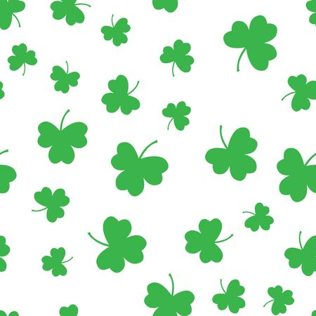 Seamless green shamrock clover leaf pattern background. Saint Patricks day. Abstract and Modern concept. Geometric creative design stylish theme. Illustration vector. Paper wrap print and wallpaper