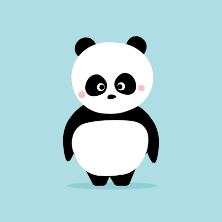 Cute panda standing on blue background. Kawaii character cartoon design concept.