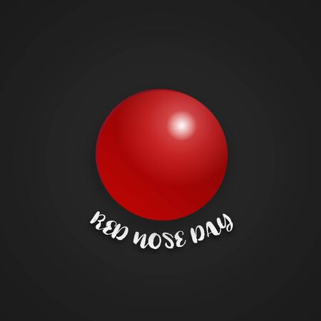 Red nose day on isolated black background. Holiday and Wallpaper concept Ilustração