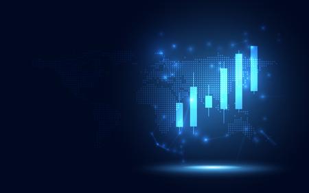 Rialzo futuristico Fondo di affari dell'estratto di trasformazione digitale del grafico del bastone della candela. Big data e crescita del business valuta stock ed economia degli investimenti. Illustrazione vettoriale
