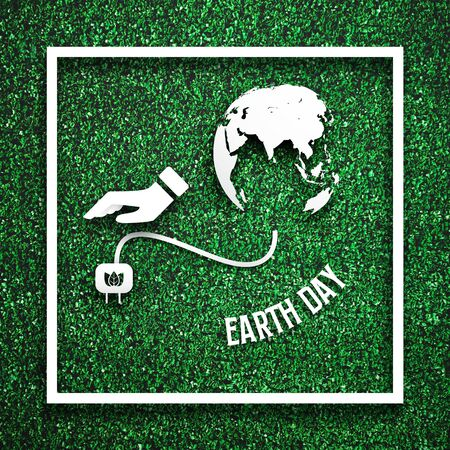 White frame with had unplugging from the earth as energy saving concept on green grass for decoration template. Eco and environment theme. Illustration graphic design element. Earth day theme.