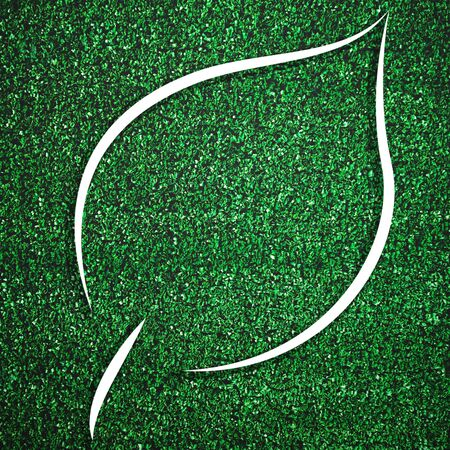 White leaf shape frame on green grass for decoration template. Eco and environment theme. Illustration graphic design element Imagens - 127777291