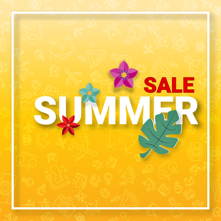 Summer sale background with summer activities icons and decorative flower in papercraft style. Digital craft and Hot promotion price tag banner wallpaper concept. Vector illustration 写真素材 - 124736093