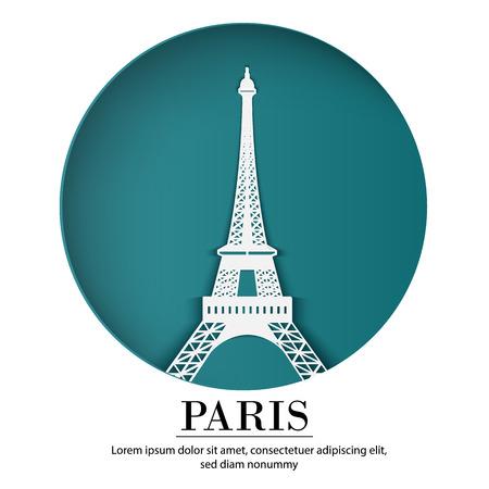 PARIS city of France in digital craft paper art. Night scene. Travel and destination landmark concept. Papercraft banner style Illustration