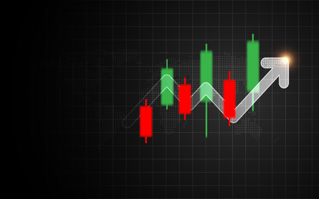 Forex candlestick signal with arrow bar graph. Business and investment indicator concept. Marketing and financial theme