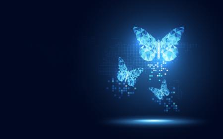 Fondo blu futuristico di tecnologia dell'estratto della farfalla del lowpoly. Trasformazione digitale dell'intelligenza artificiale e concetto di big data. Concetto di evoluzione della comunicazione di rete Internet quantistica aziendale Vettoriali
